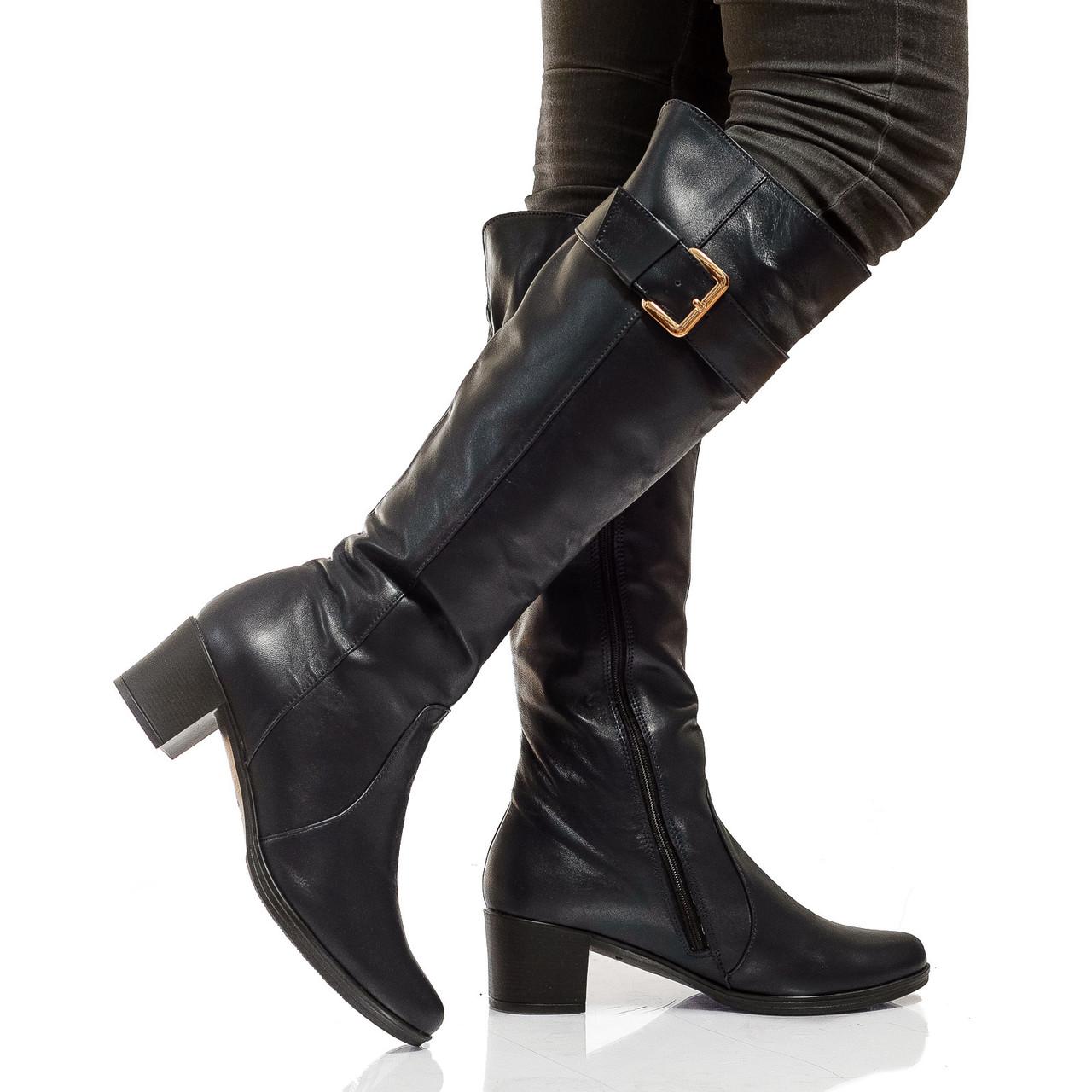 Сапоги высокие на низком каблуке, из натуральной кожи, на молнии. Три цвета! Размеры 36-41 модель S2404