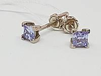 Срібні сережки-Гвоздики з фіанітами. Артикул 2839р-CZ, фото 1