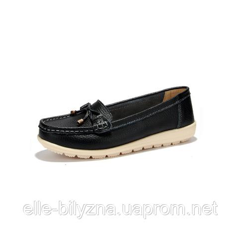 Туфли женские черные натуральная кожа Т764 р 39