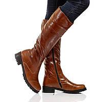 Сапоги высокие на низком каблуке, из натуральной кожи, на молнии. Пять цветов! Размеры 36-41 модель S2205, фото 1