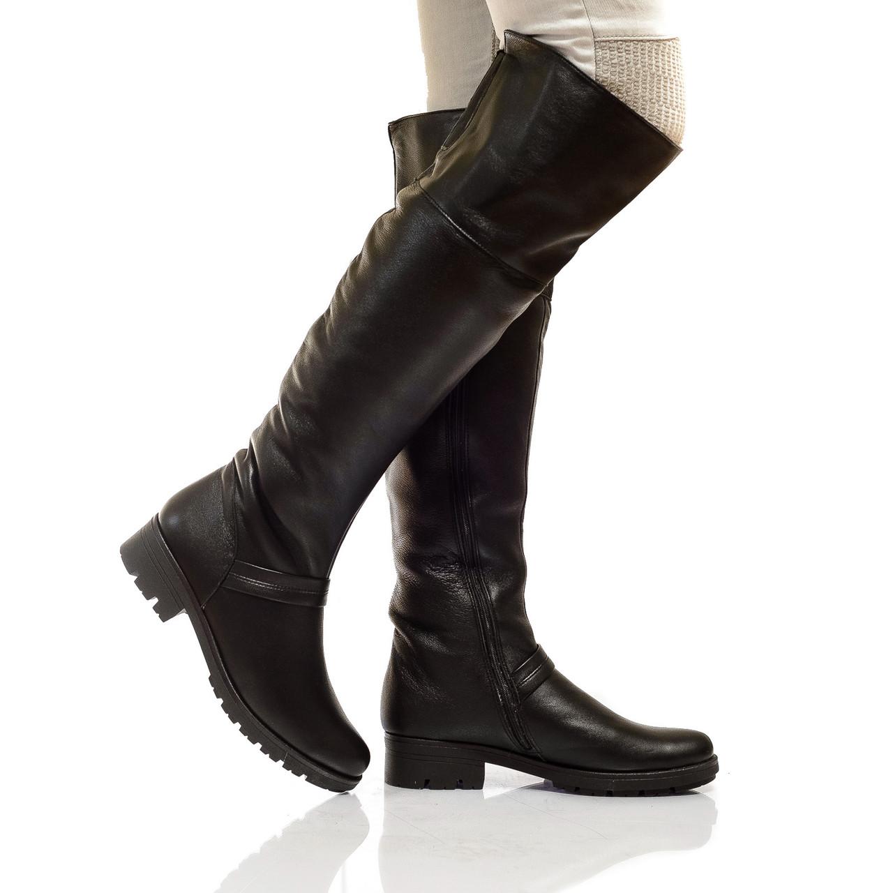 Сапоги высокие на низком каблуке, из натуральной кожи, на молнии. Два цвета! Размеры 36-41 модель S2213