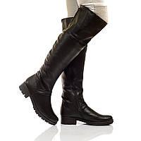 Сапоги высокие на низком каблуке, из натуральной кожи, на молнии. Два цвета! Размеры 36-41 модель S2213, фото 1