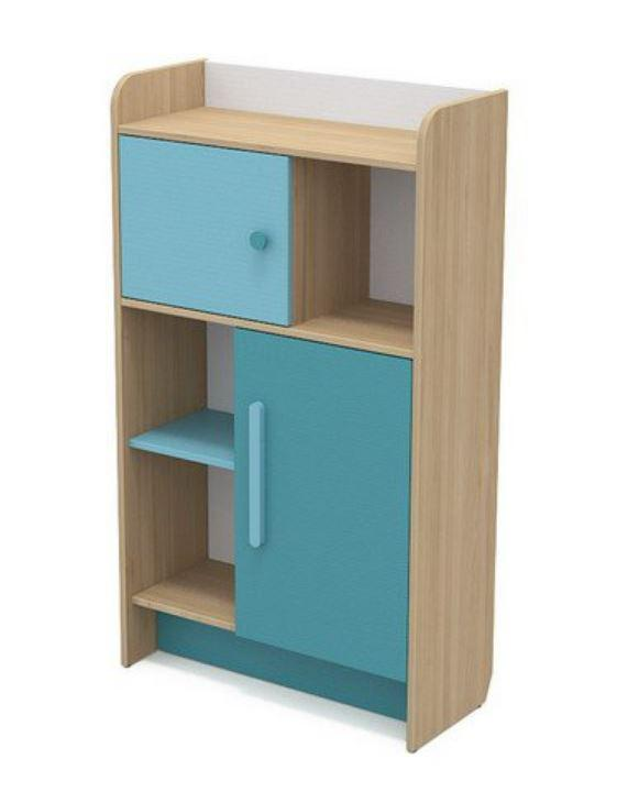 Книжный шкаф Кв-04-2 Акварели бирюзовые