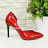 Женские лаковые красные туфли на шпильке, фото 2