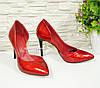 Женские лаковые красные туфли на шпильке, фото 3