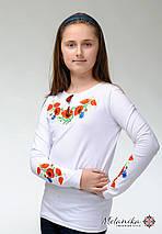 Белая вышитая футболка для девочки с цветами «Маки с васильками», фото 3