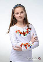 Біла вишита футболка для дівчинки із квітами «Маки з волошками», фото 2