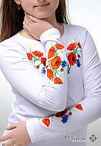 Біла вишита футболка для дівчинки із квітами «Маки з волошками», фото 3