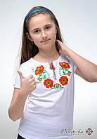 Вишита дитяча футболка білого кольору із квітковим орнаментом «Барвисті маки», фото 1
