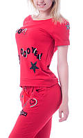 Стильный летний спортивный костюм с бриджами 8859 красный, фото 1