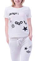 Стильный летний спортивный костюм с бриджами 8859 молочный, фото 1
