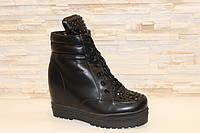 Ботиночки сникерсы зимние женские черные с камнями С670 р 41, фото 1