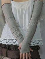 Митенки длинные до плеч (перчатки без пальцев mit1) Серые