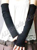 Митенки длинные до плеч (перчатки без пальцев mit1) Черные