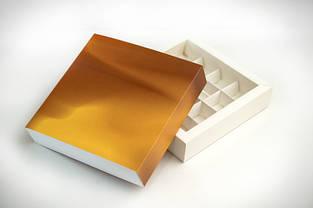 Коробка для конфет 16 шт. (золото) 18,5х18,5х4,2 см