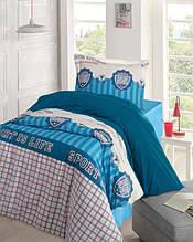 Постельное белье Storway ранфорс Champion голубое полуторного размера