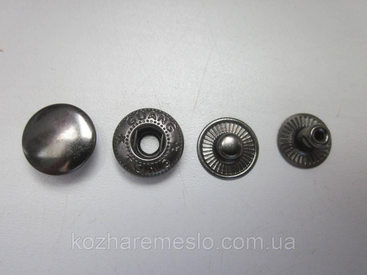 Кнопка альфа 10 мм тёмный никель