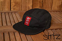 Крутая молодежная кепка бейсболка пяти панельная адидас Adidas Originals черная реплика, фото 1