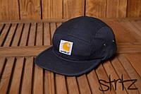 Модная стильная бейсболка пятипанельная кепка кархат Carhartt темно синяя реплика, фото 1