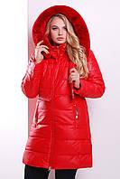 Женская теплая куртка-двойка с меховым воротником красная Куртка 13