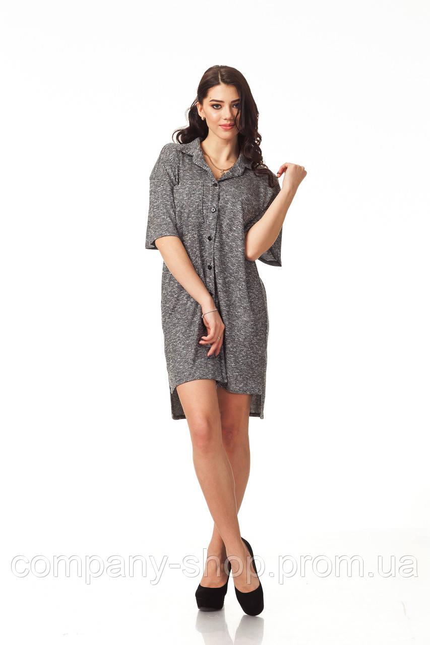 Платье-рубашка трикотажная. Модель П114_вязка черная