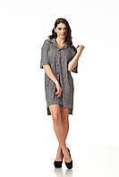 Платье-рубашка трикотажная. Модель П114_вязка черная, фото 1