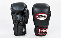 Перчатки боксерские на липучке  черные TWINS BGVL-3-BK