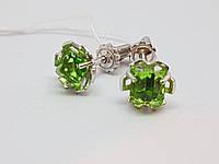 Серебряные серьги Каприз с кристаллами Сваровски. Артикул 2824р-SWR