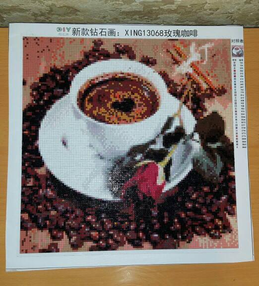 """Алмазная вышивка мозаика """"Чашка кофе и роза"""""""