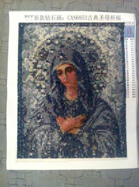 """Алмазная вышивка икона """"Богородица серебряная"""""""