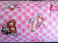 Ткань фланель детская для пеленок ш.180 см Розовая клеточка