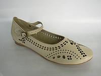 Туфли женские бежевые натуральная кожа код Т124 , фото 1