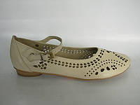 Туфли женские бежевые натуральная кожа код Т124