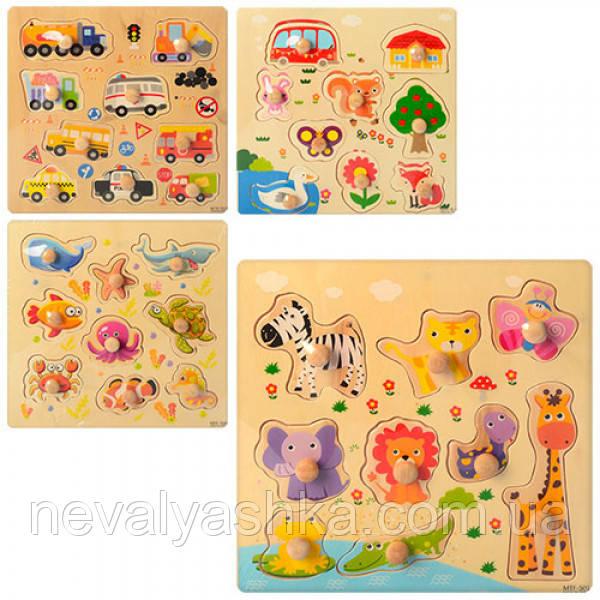 Деревянная игрушка Рамка - вкладыш животные транспорт, MD 1088, 004414