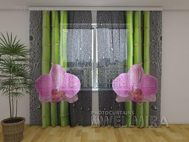 ФотоТюль Орхидеи и бамбук 2