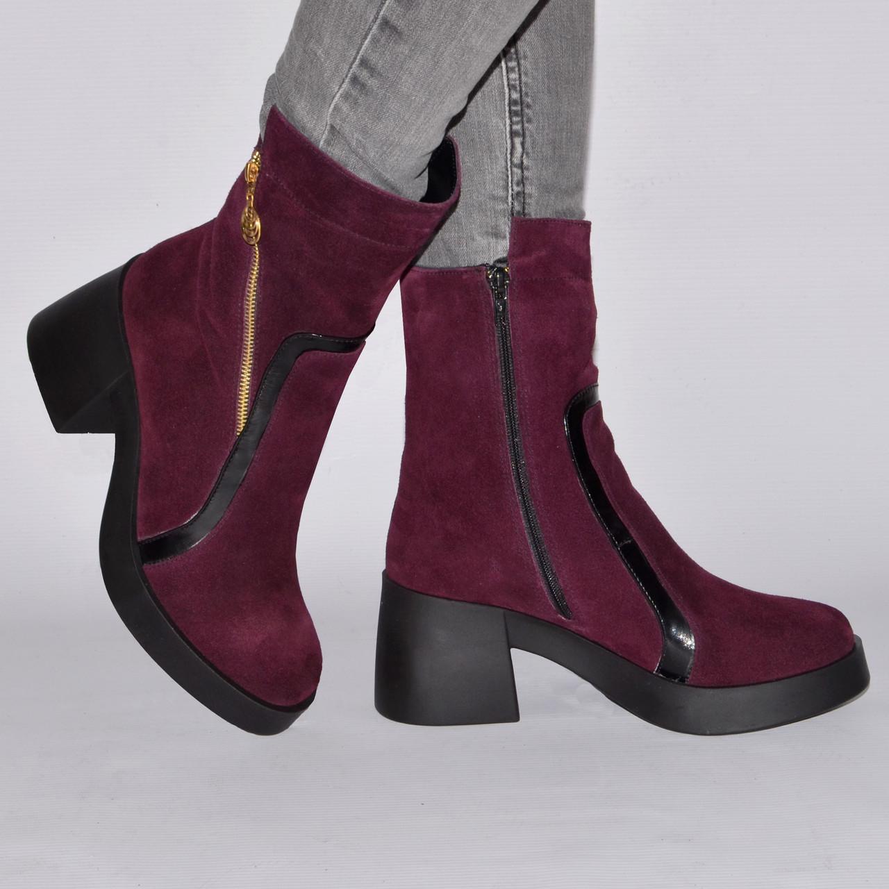 Сапоги-ботинк на низком каблуке, из натуральной кожи, замша на молнии. Пять цветов! Размеры 36-41 модель S2520