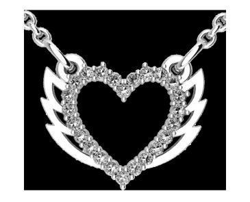 Подвеска - кулон серебряная Сердце с крыльями 60153