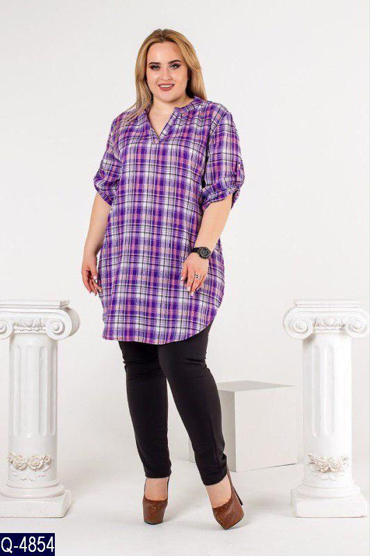 1dc408a3d4d Удлиненная женская рубашка туника в клетку - купить по лучшей цене в ...