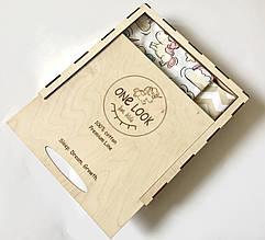 """Комплект постельного белья полуторный Премиум класса """"Единороги"""" (100 % хлопок), эко-коробка из дерева"""