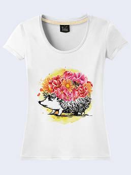 Женская футболка Ёжик с букетом