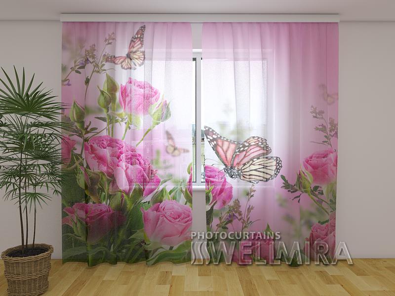 ФотоТюль Бабочки и розовые розы