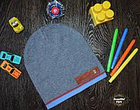 Демисезонная шапка для мальчика с ремешком Польша чёрный меланж, фото 1