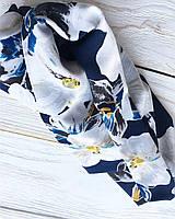 Синий хомут в цветочный принт