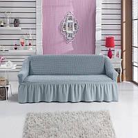 Чехол на прямой диван до 2,5 метров (светло серый) Турция