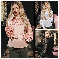 Нарядная блузка - рубашка кружевной рукав 16040