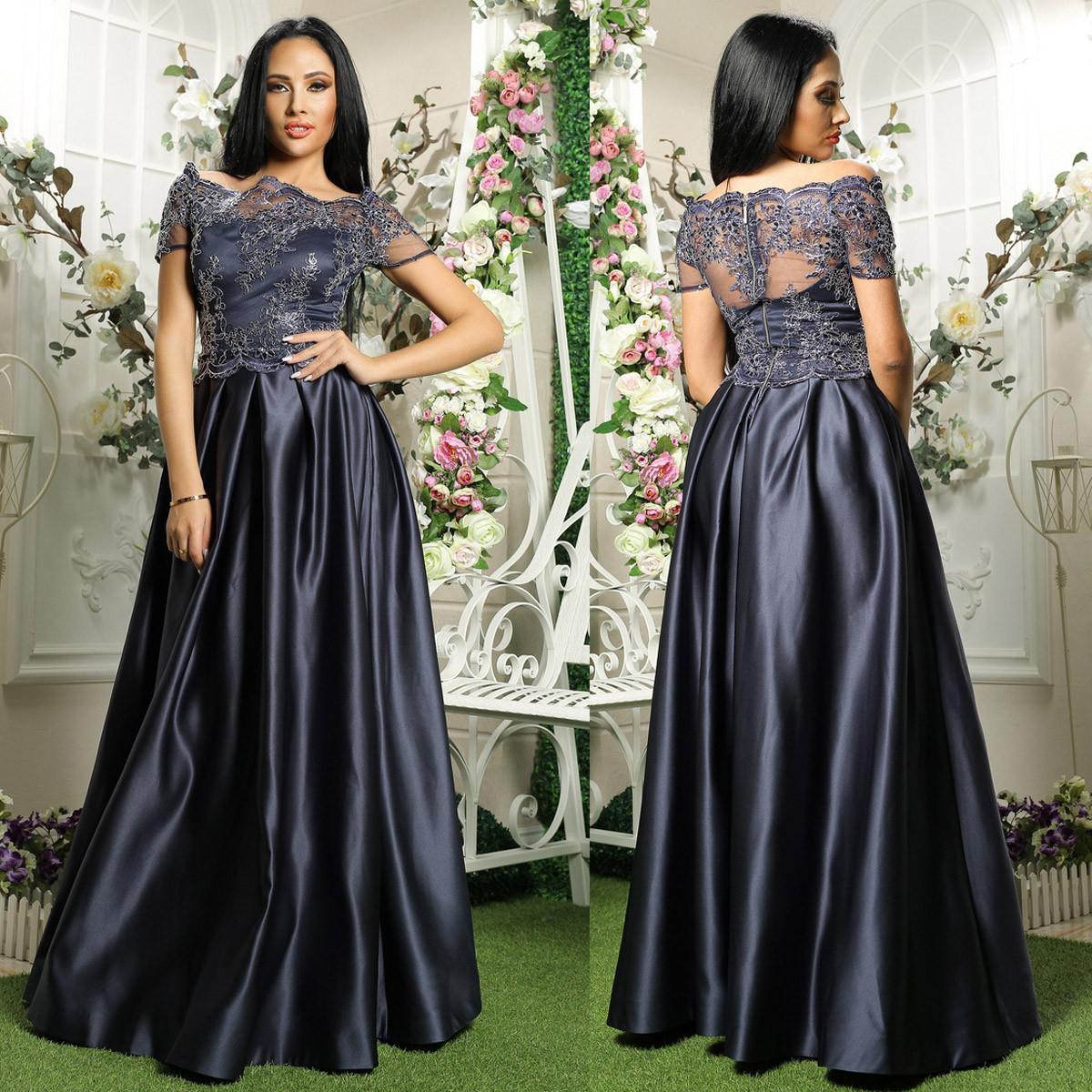 7030b038b85ca35 Выпускное, вечернее атласное платье синее с кружевом