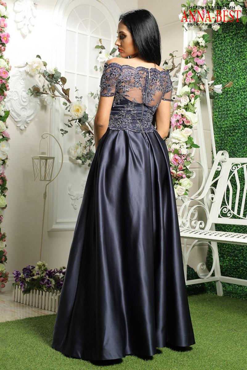 985e6085008 ... вечернее атласное платье синее с кружевом
