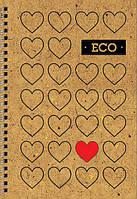 """Блокнот """"Еко"""" А6: Серія Серця (80 аркушів, клітинка)"""