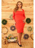 Женское платье на каждый день Юфеза цвет морковь / размер 48-72