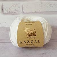 Пряжа Gazzal Organic Baby Cotton белый №415 хлопковая для ручного вязания, летняя